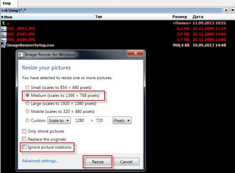 Пакетное изменение размера изображения в Image Resizer for Windows 7 - 2